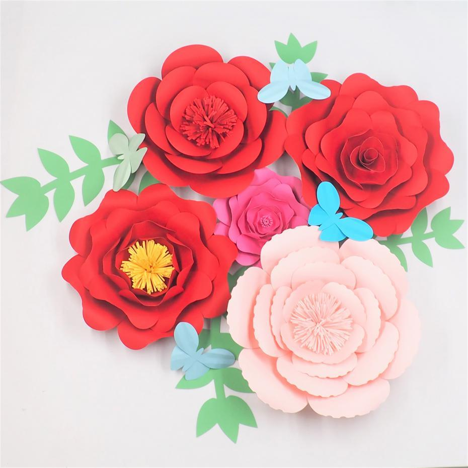 2018 Diy Giant Paper Flowers Backdrop Large Flowers Leaves