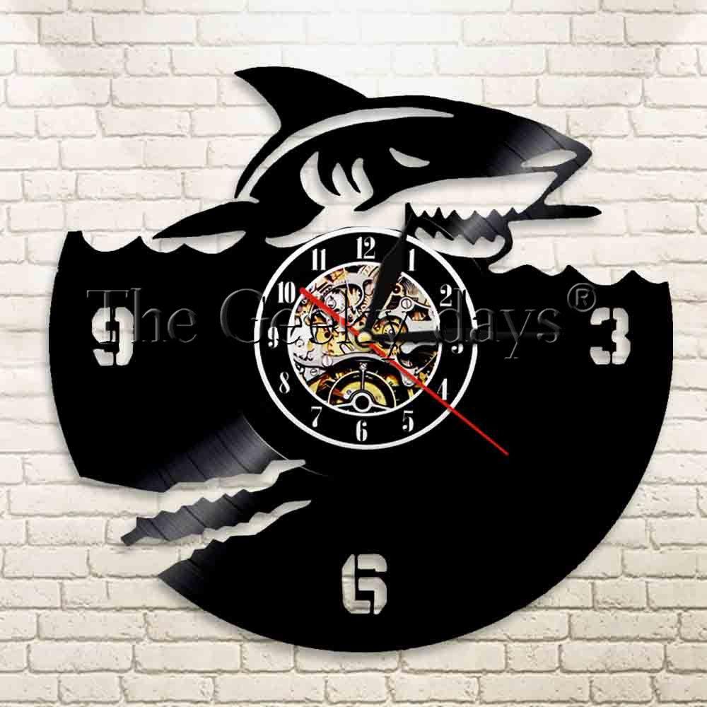 Compre 1 Pieza Tiburón Miedo Arte De La Pared Reloj De Registro De ...