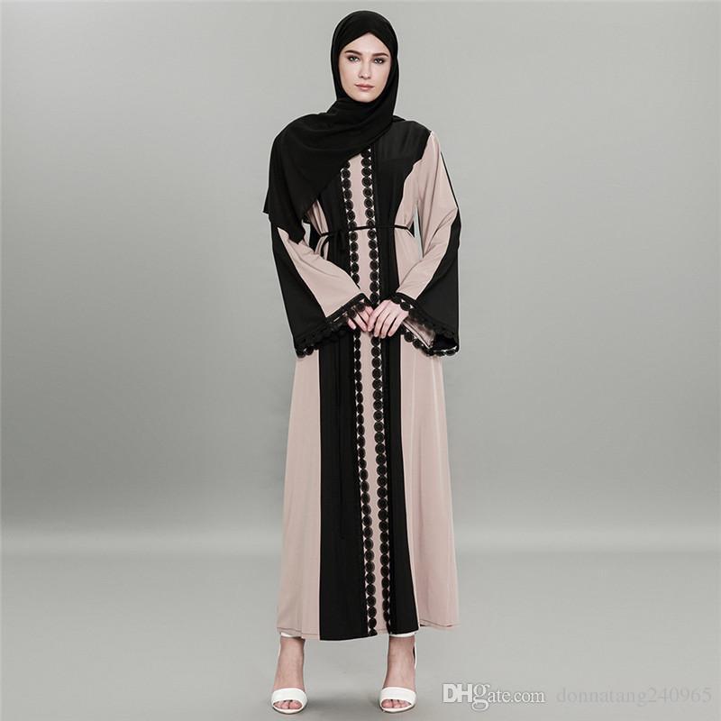 6afb148ff2ff3 2019 S 6XL New Design Abaya Dress Lace Muslim Dresses Women Ramadan Elegent Islamic  Clothing Dubai Skirt Long Sleeve Jibabs Dress From Donnatang240965, ...