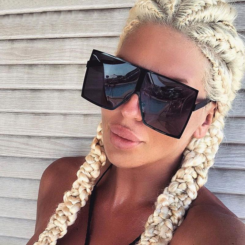 08a4a51e14 Compre Gafas De Sol De Gran Tamaño Mujeres Gafas De Sol Cuadradas Marrón  Negro Rosa Lentes Tonos UV400 Gafas Para Mujer A $16.2 Del Rocketer |  DHgate.Com