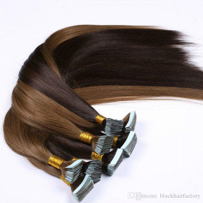 "18""20"" Brazilian Virgin Tape Hair Extension 100g PU Skin Weft Hair Extensions Straight Tape In Hair Extensions"