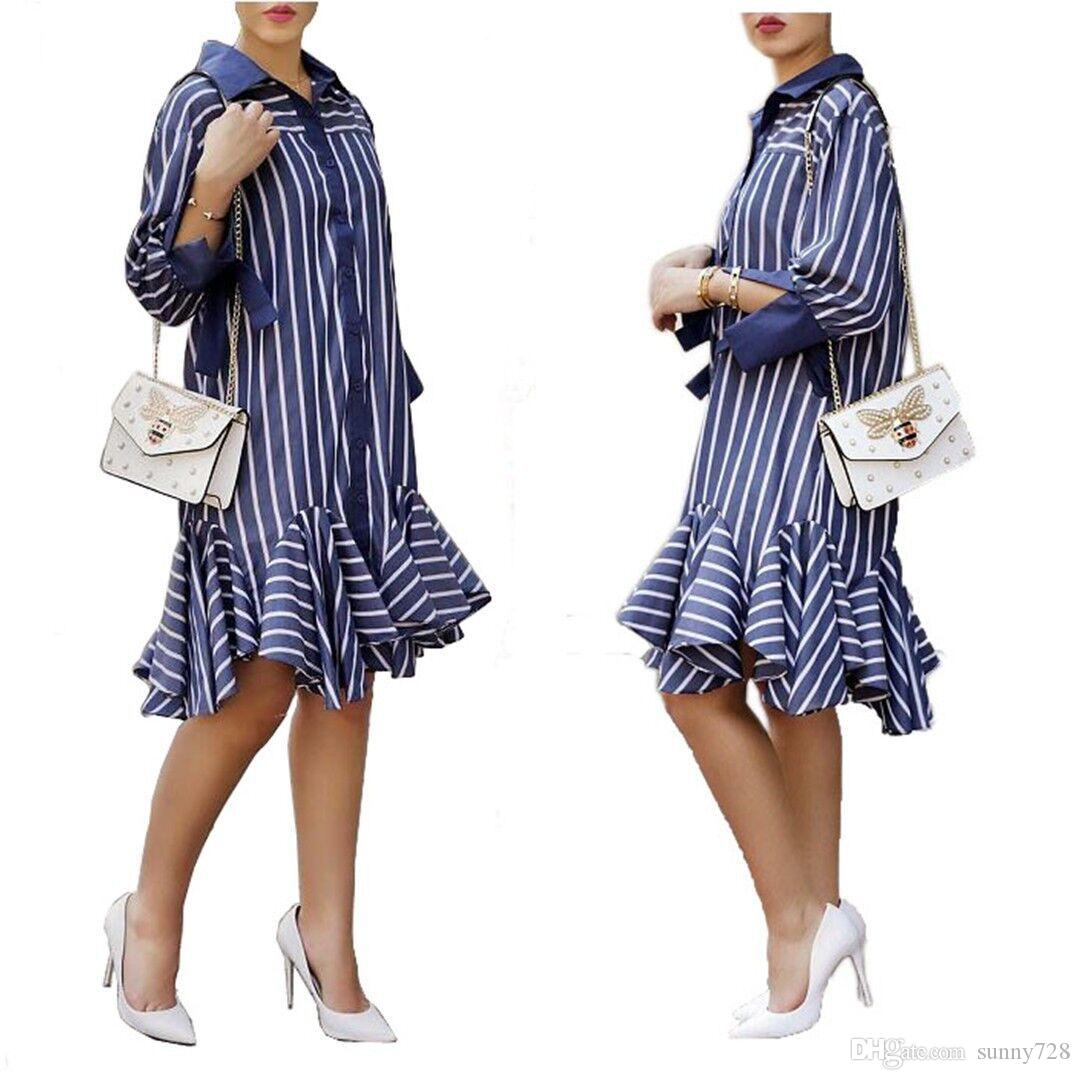 7a3f4bd5756 Navy Blue Striped Fashion Shirt Dresses Ruffles Style Long Sleeves Lapel Neck  Button Knee Length Slim Women Casual Dress For Autumn 2018 Women In Dress  Sun ...
