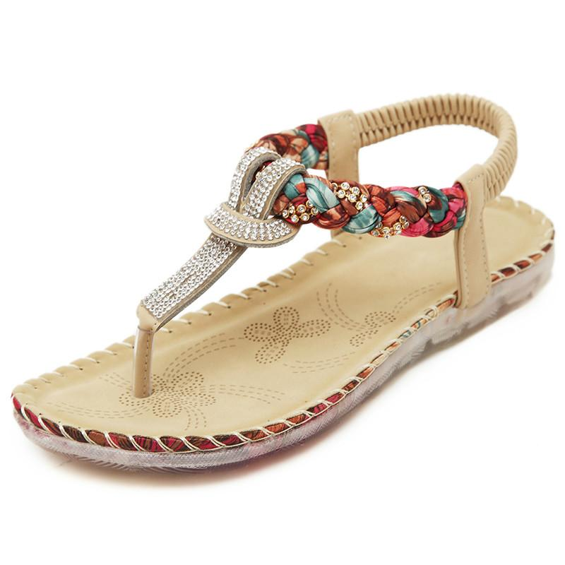 a32045c5d Bohemia Flats Women Sandals Sexy String Bead Beach Summer Shoes Fashion  Ethnic Gladiator Women Flip Flops Plush Size Bamboo Shoes High Heels Shoes  From ...