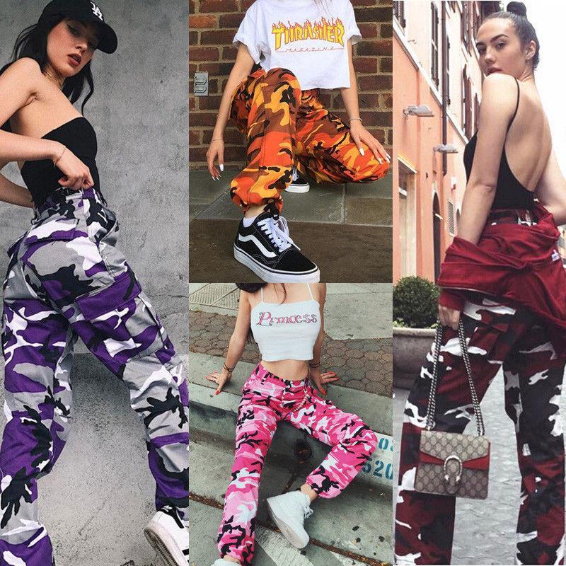 Acheter Femmes D été Camo Cargo Pantalons Pantalons Pantalons Décontractés  Armée Militaire Combiner Camouflage Jeans Pantalon Crayon Rose Rouge Gris  ... 076b02b9a25