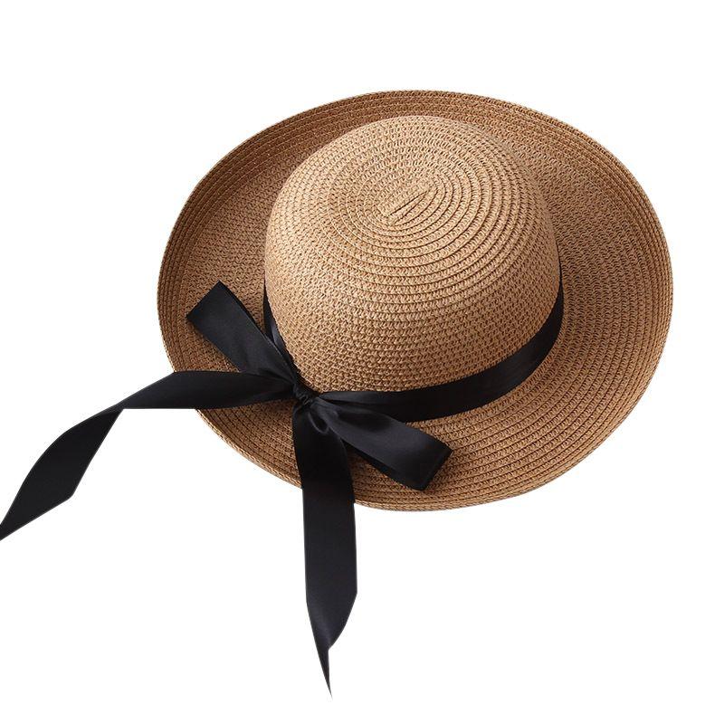 209bf648ed90e Compre 2018 Mujeres Niñas Sombrero Plegable Para El Sol Gorra De Playa De  Verano Ala Ancha Cinta De Bowknot Sombrero De Paja Negra Sombrero De Panamá  ...