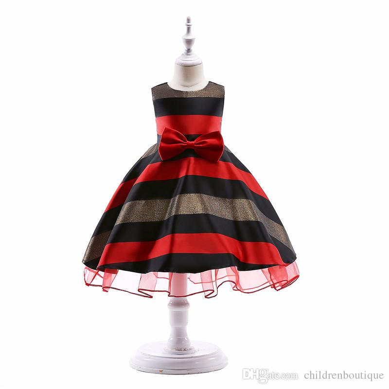 Children Girls Clothing Baby Girls Dress Striped Bow For Girls Formal Wedding Party Dresses Kids Princess Christmas Dress Costume 4Styles