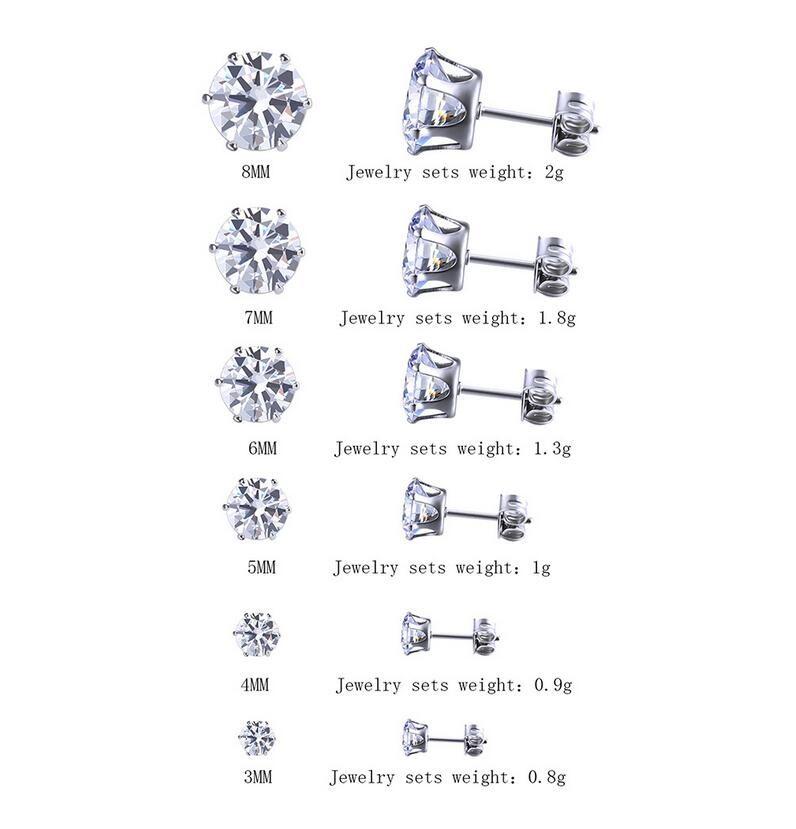 fe6b1fe60c27 Compre 6 Par   Lote 3mm 8mm CZ Stud Pendientes Conjuntos Mujeres Niñas  Diamante Redondo Brillante Piercing Ear Plugs Studs Para Niños Hombres  Adolescentes ...