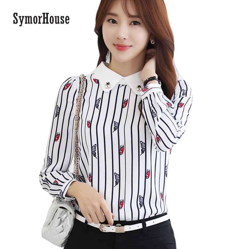 c703677af0f7 2019 SymorHouse Women Tops Blouses 2018 New Fashion Long Sleeve Prints Shirt  Women Korean Style Clothing Chiffon Blouses From Piterr