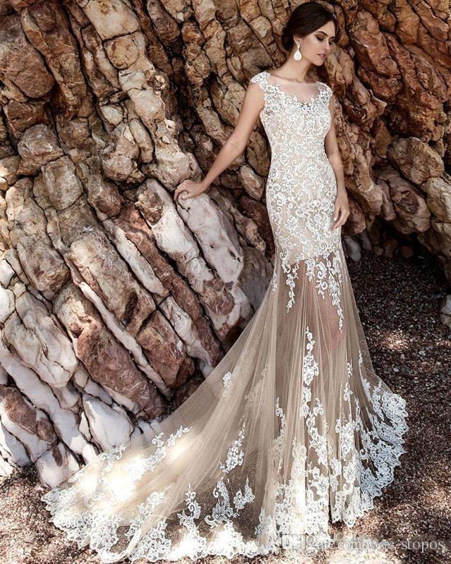 Champagne Lace A Line Brautkleider Sheer Tüll Applique Über Röcke Bow Sash Hochzeit Brautkleider BA5359
