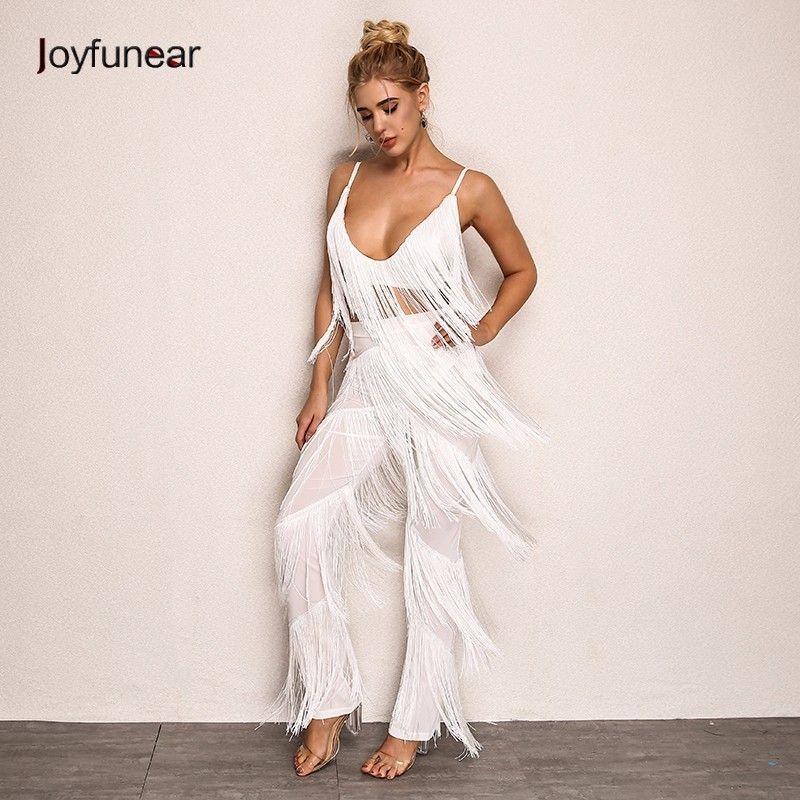 c0f9ca6d8b4 2019 Joyfunear Autumn Long Jumpsuit White Color Tassel Sexy Backless  Spaghetti Strap Bodysuit Clubwear Rompers Womens Jumpsuit From Hannahao