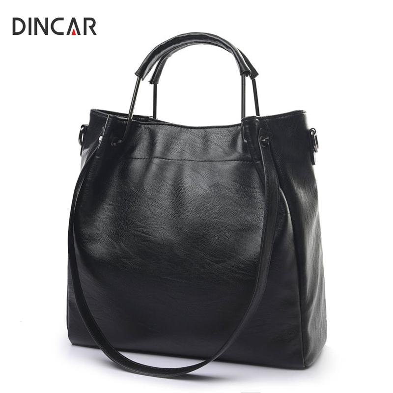 55462f384e06 DINCAR Luxury Black Handbags Women Bags Thread Simple Designer High ...