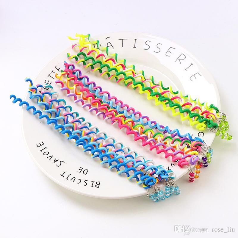 6 Couleur Filles Cheveux Twist Outil DIY Accessoires De Cheveux Élégant avec Perles Multicolore enfants mode bouclés ceinture de cheveux bande B