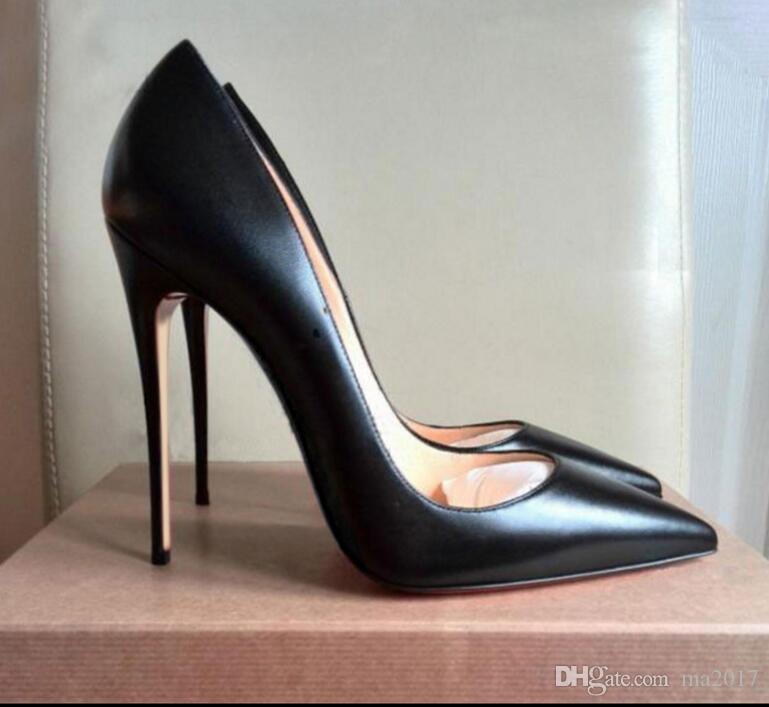 53315ac5302 Acheter Marque Femme Escarpins Chaussures Semelle Rouge Femme Talons Hauts Escarpins  Escarpins Chaussures Noir Mat Lignes De Peau De Mouton Femmes ...