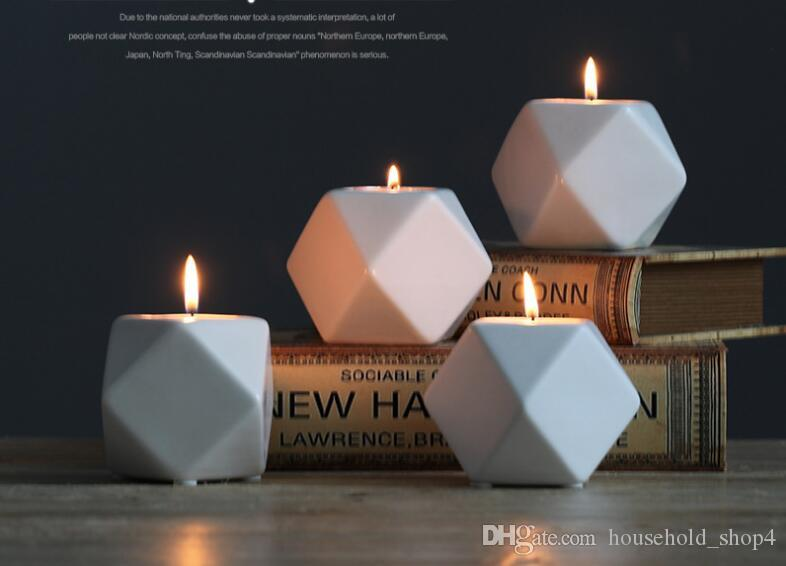 Ceramic Candle Holder Modern Candlestick Geometry Holders for Colume Candle Romatic Home Wedding Decoration Party Bar Ornament Hot Sale