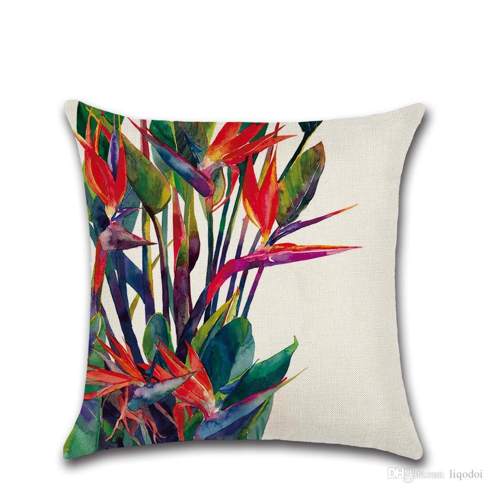 45 cm * 45 cm Büyük Yeşil Yapraklar Tropics Keten / Pamuk Atmak Yastık Kanepe Minder Kapak Ev Dekoratif Yastıklar Kapakları