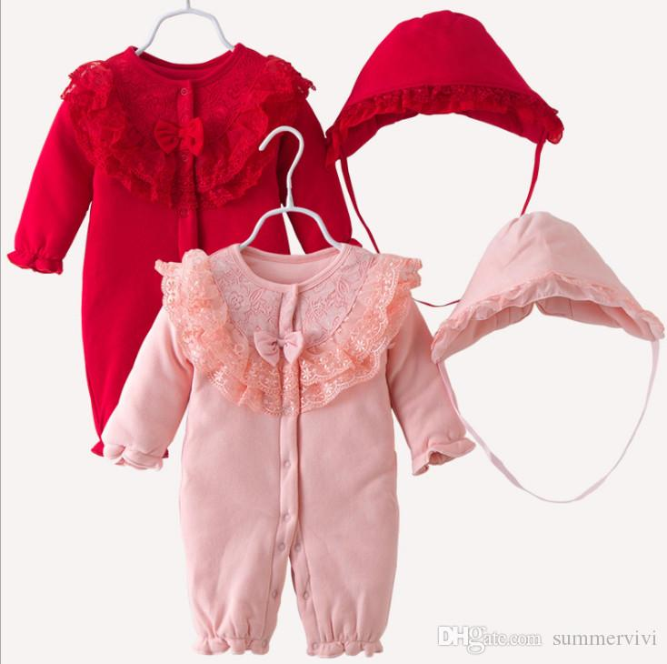 92e57a9373c 2019 Chirstmas Baby Romper Sets Girls Lace Embroidery Double Falbala Single  Breasted Long Sleeve Jumpsuits+Lace Ruffle Hat Sets F1979 From Summervivi