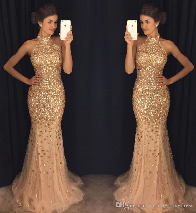 047bb2969bef 2018 Halter Major Crystals Beaded Mermaid Long Prom Dresses Luxury Tulle  Sweep Train Formal Party Evening Gowns Whatchamacallit Prom Dresses 2015  Prom Dress ...