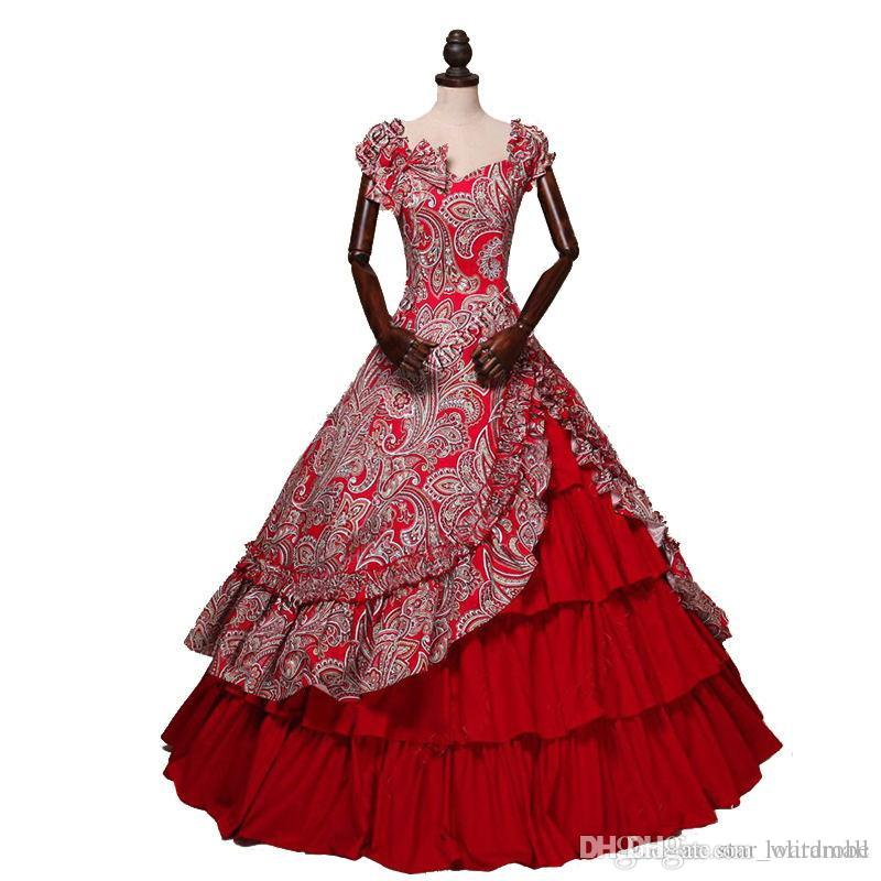54c0c8936b4 Medieval Period Gothic Victorian Party Dresses Off The Shoulder Red Floral  Pattern Southern Belle Ball Gowns Customized UK 2019 From Lolitamall