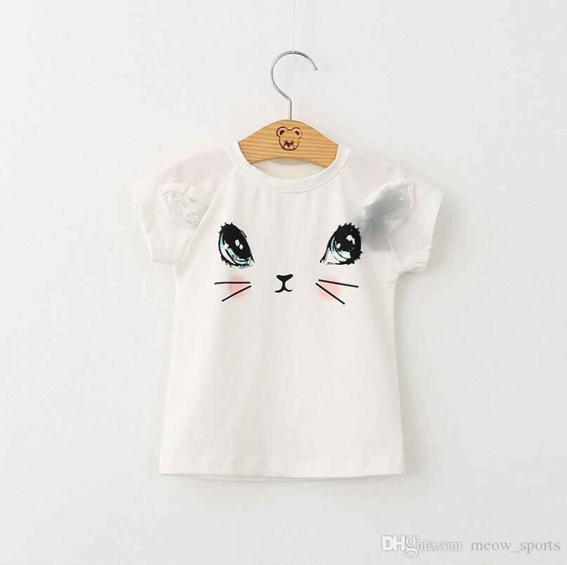 Girls Clothing Sets New Summer Fashion Style Cartoon Cat Printed T-Shirts+Net Veil Dress Girls Clothes Sets