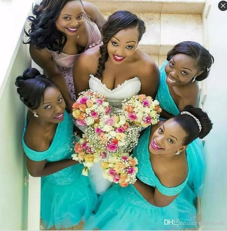 Afrikanische Meerjungfrau Lange Brautjungfer Kleider Off Shoulder Türkis Mint Tüll Spitze Appliques Plus Size Trauzeugin Brautjungfern Party Kleider