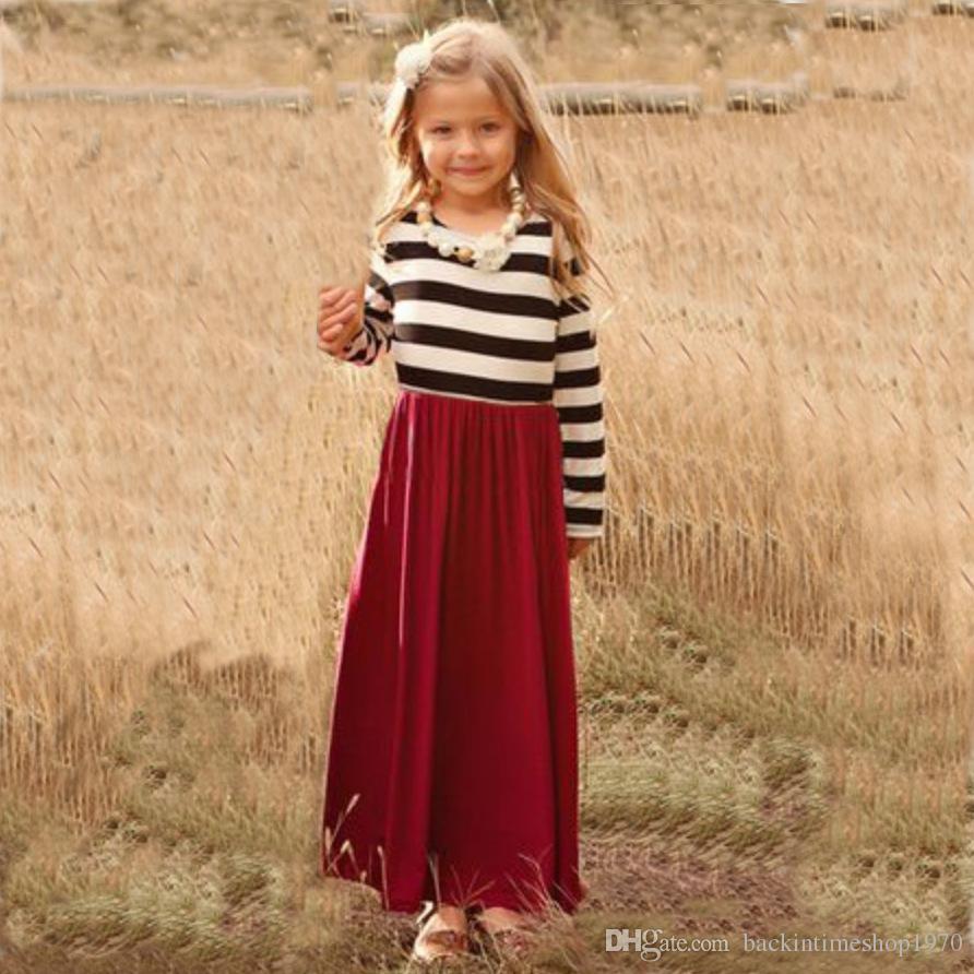 가족 일치하는 드레스 가을 봄 빨간 줄무늬 엄마와 딸 여자 의상 Maxi Dress 패밀리 매칭 옷