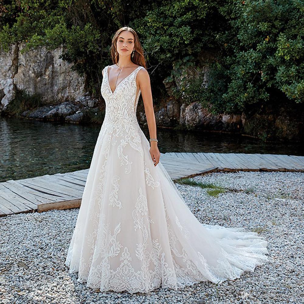 5dea4daf92a9 Acquista Abito Da Sposa Lungo Senza Spalline Lunghi In Tulle Con Perline E  Perline A  164.61 Dal Wevens