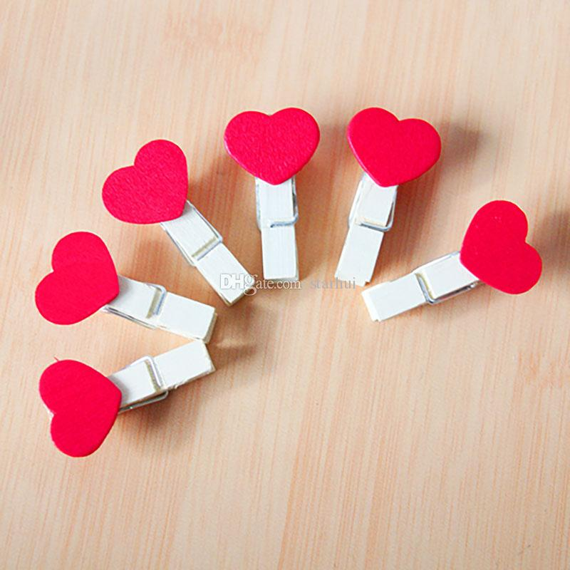 /bag Mini Heart Love Wooden Clothes Photo Paper Peg Pin Clothespin Craft Postcard Clips Home Wedding Decoration WX9-265