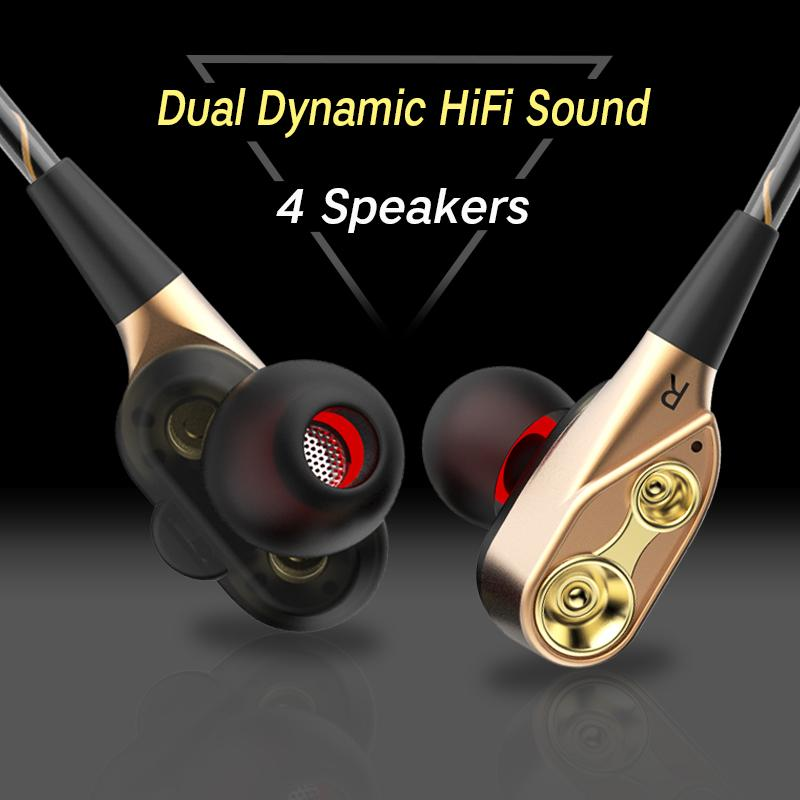 IPUDIS 3 5mm HiFi Wired Earphone Dual-Dynamic Quad-core Speaker In-ear  earbuds Flexible Cable Anti-wrap with HD Microphone