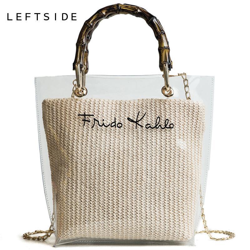 LEFTSIDE Summer 2018 Small Handbag Transparent Women Hand Bags Chain Straw  Bag Lady Travel Beach Shoulder Cross Body Bag HolidayY1883107 Fiorelli  Handbags ... 10d21655d268e