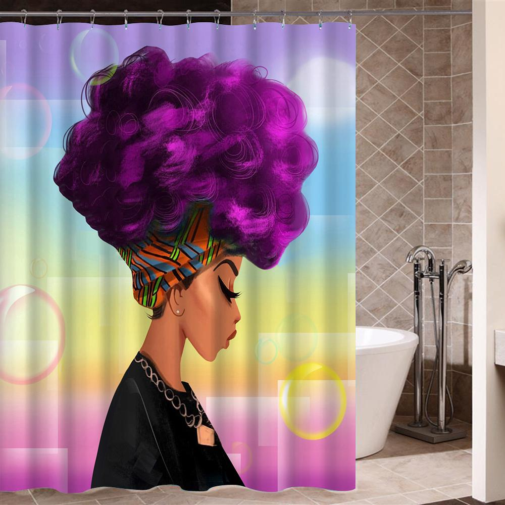 2019 Afro Shower Curtain African Woman With Purple Hair Watercolor Portrait Picture Print Waterproof Mildew Resistant From Goutour 2223