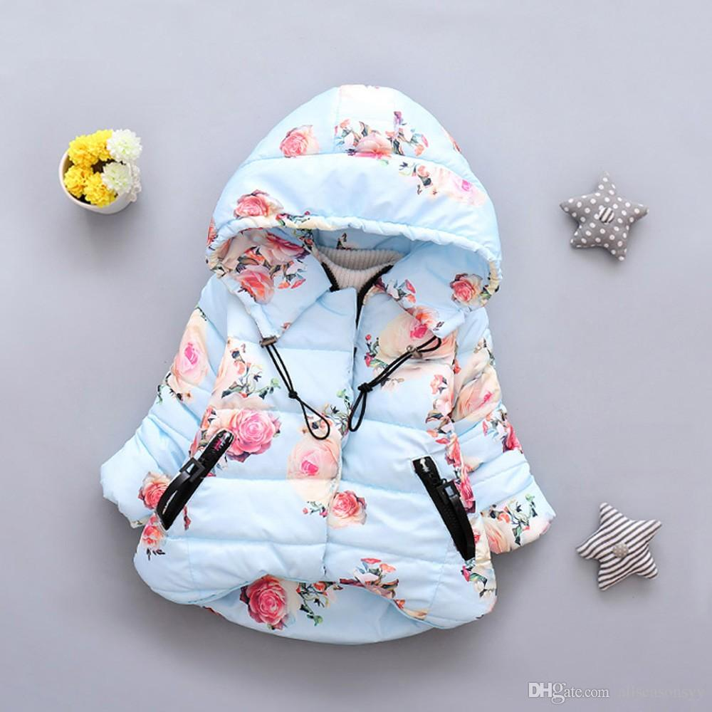 ee4578350 Toddler Baby Coat Girl Boy Clothes Floral Print Winter Warm Jacket ...