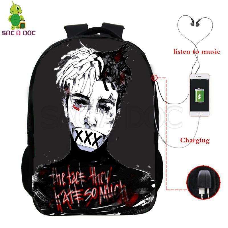 2a17167c6ae Famosos Rapper Xxxtentacion Mochila Escolar USB Multifuncional de  Carregamento Laptop Backpack para Adolescentes Meninos Meninas Sacos de  Ombro de ...