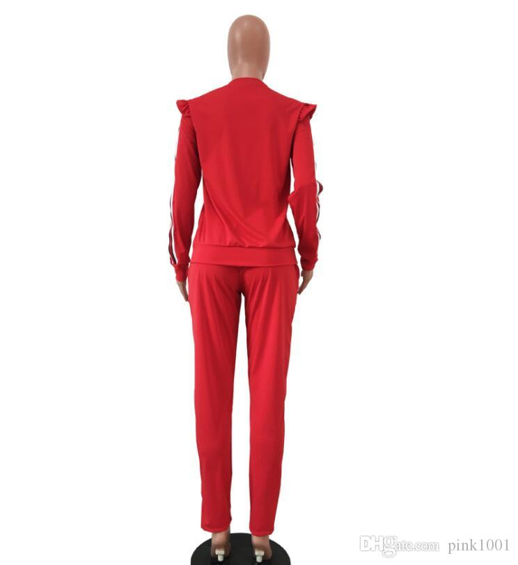 2018 PINK Ribbon stitching Auricular shoulder suit, Long sleeves + trousers vetements kanye west fear of god clothing Free Delivery