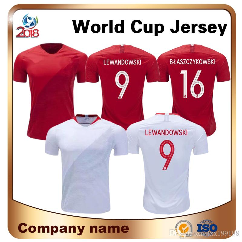 7da8da0efc7 2018 World Cup Soccer Jersey Home White Away Red  9 LEWANDOWSKI  19 ...