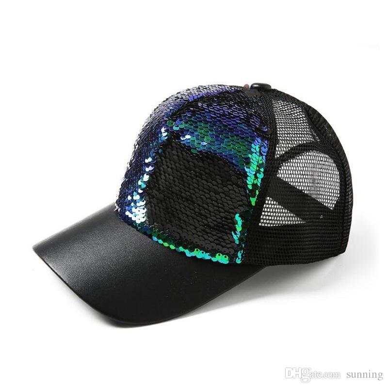 787cf4d4440 Hot Sale Fashion Mermaid Sequins Baseball Hats Summer Mesh Cap ...