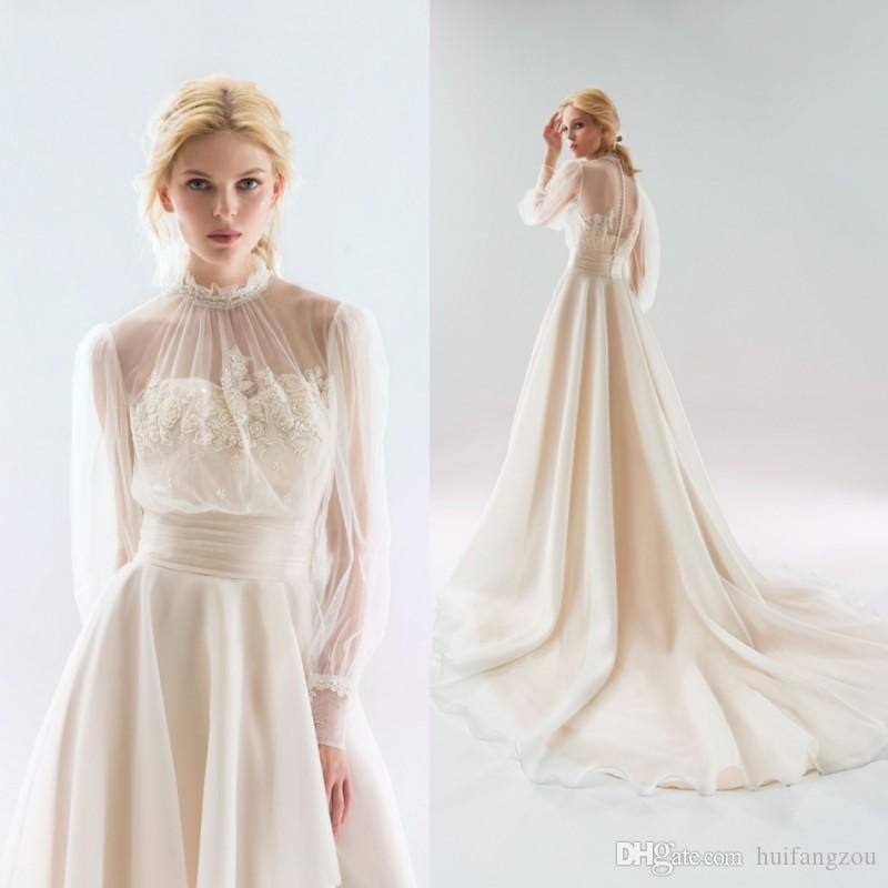 d0d8a3dbb6 Discount Papilio 2018 Long Sleeve Wedding Dresses Sheer Neck Elegant Sweep  Train Bridal Gowns Garden Lace Applique Wedding Dress End Of Line Wedding  Dresses ...