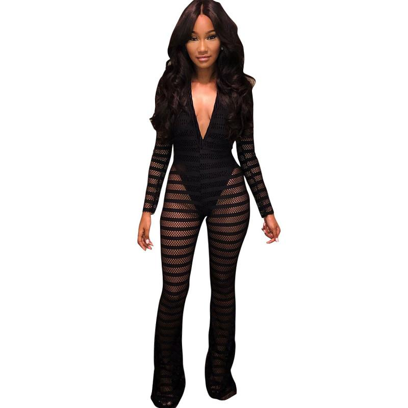 3a73c495ecee 2019 New Sexy Striped Sheer Mesh Jumpsuit With Lining Women Long Sleeves  Deep V Neck Wide Leg Romper Clubwear Party Overalls Leotard From Worsted