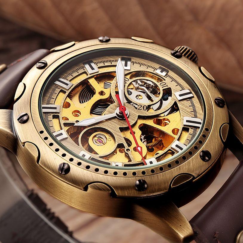 c4301351615 Compre Relojes Mecánicos De Esqueleto De Bronce Retro Hombres Relojes  Automáticos De Lujo Deportivo Reloj De Cuero De Marca Superior Relogio  Masculino Reloj ...