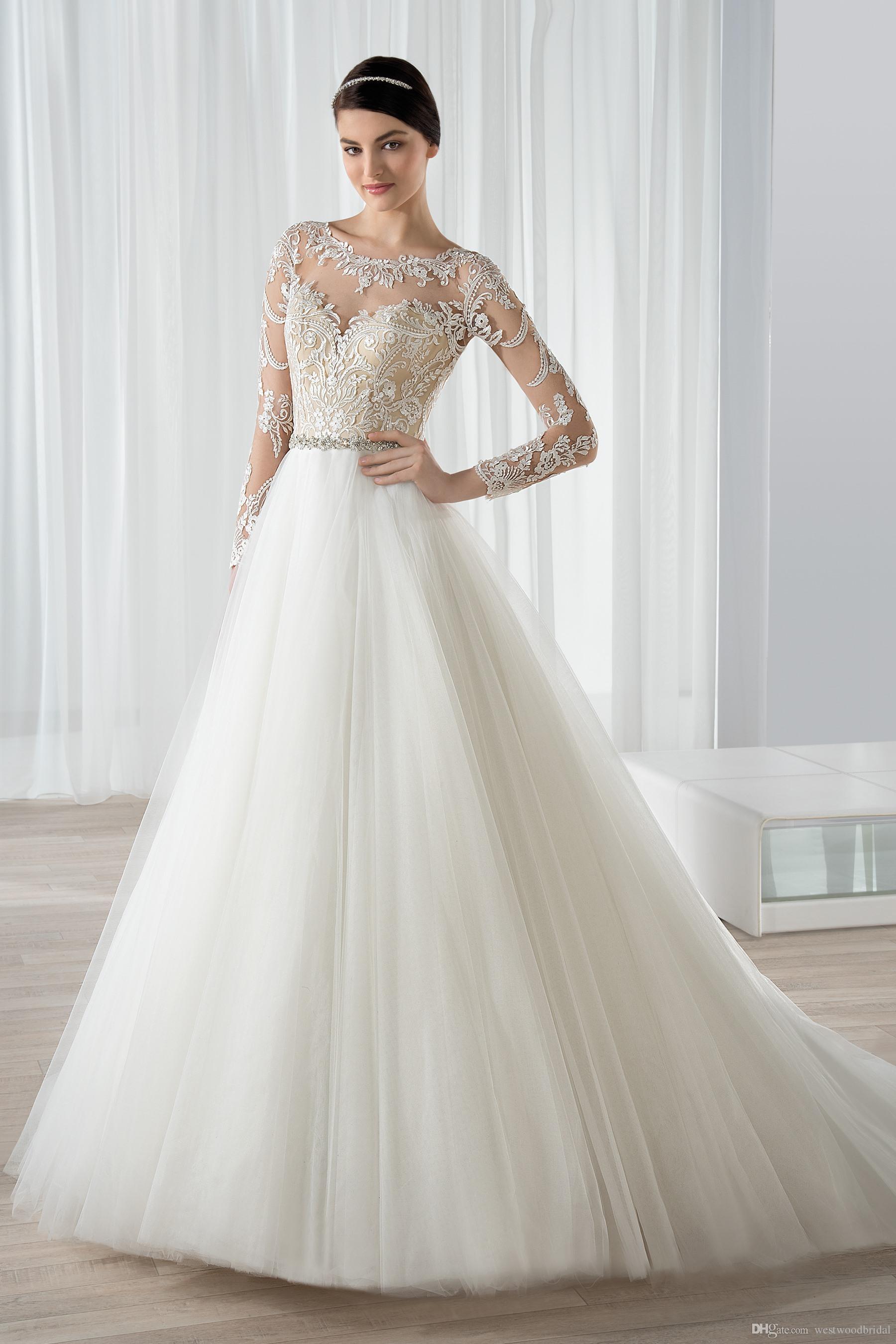 2019 Wedding Dresses Bridal Gowns Demetrios A Line Sheer Long Sleeve Applique Crystal Waistband Bateau Wedding Gowns Custom Made