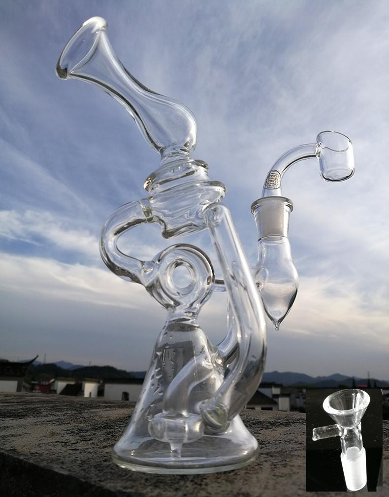 Yeni cam recycler bong tasarım su boruları oymak dab kuleleri lastik perc cam kalın 4mm ile kuvars banger tırnak yağ yakıcı bongs