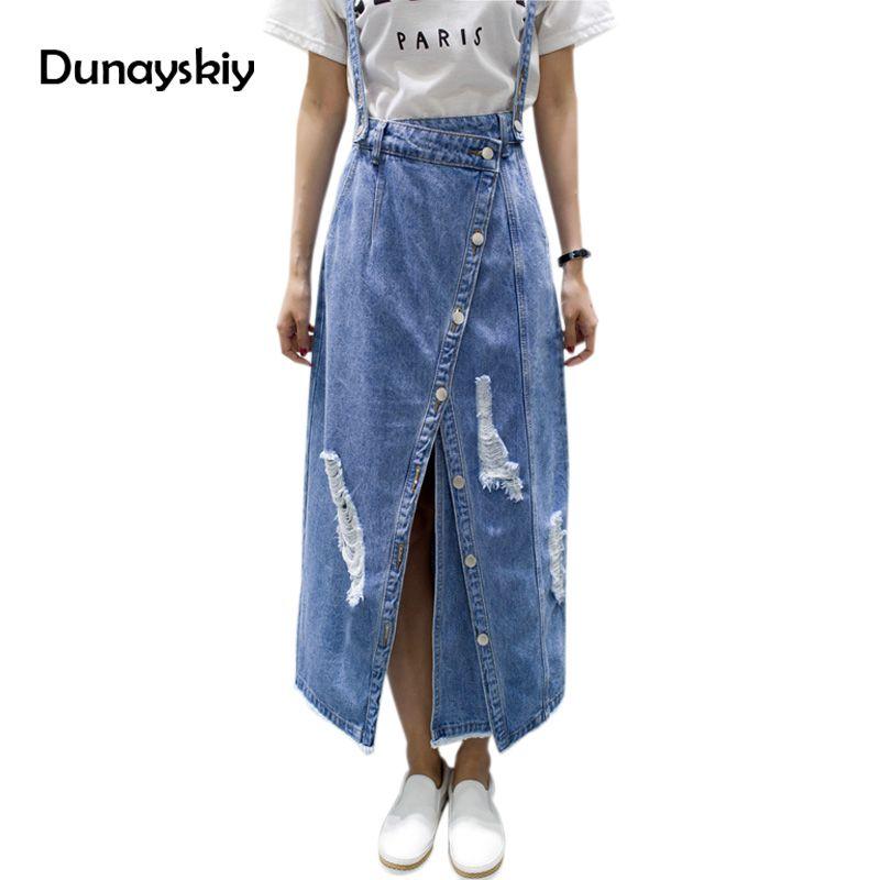 b893939cc 2019 Summer Ripped Womens Skirt Jeans Jupe Hole Ladies Irregular Front Slit Elegant  Denim Skirts Suspender Split Saias Dunayskiy From Vanilla04