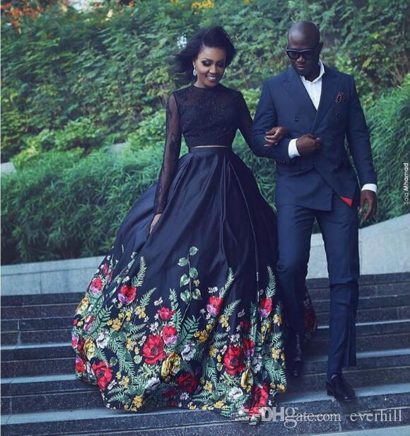 71bee7118bb JaneVini Floral Print Prom Dresses Black 2018 Lebanon Long Sleeve Lace Ball  Prom Party Gowns African Satin Evening Formal Dresses Design Your Own Prom  Dress ...