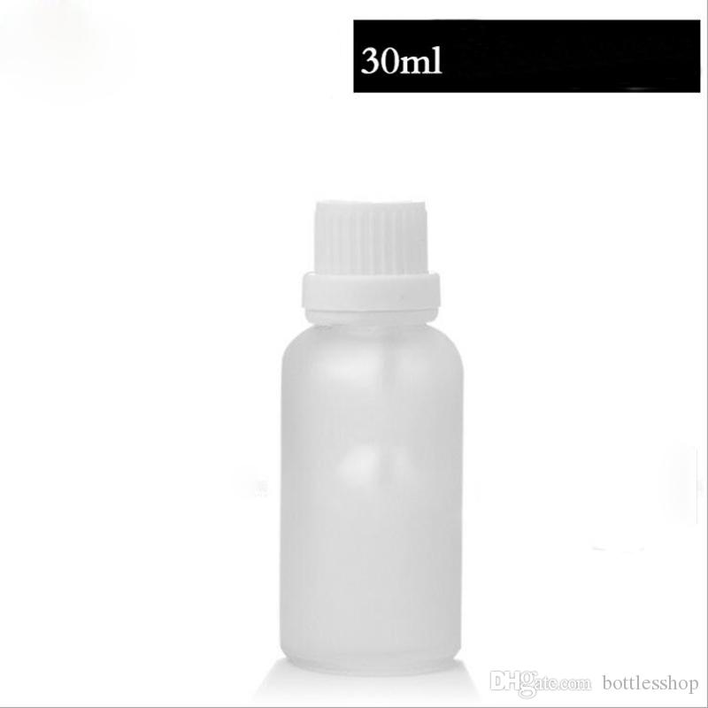 2018 High Qaulity Frosted Clear 30ml glass dropper bottles for eye face essential oil cosmetic packaging bottles with 4 Type caps