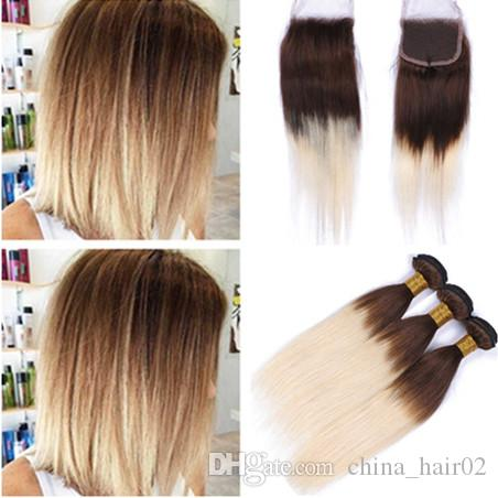 2019 Chocolate Brown Root Blonde Ombre Indian Virgin Hair Weave