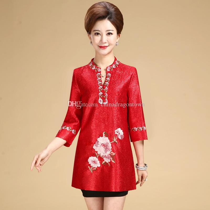 f2dd3a88b383 2019 New Fashion Autumn Cheongsam Style Tang Suit Top Chinese Traditional Women  Clothing Top Vintage Dress Plus Size Qipao Blouse From Chinadragontown