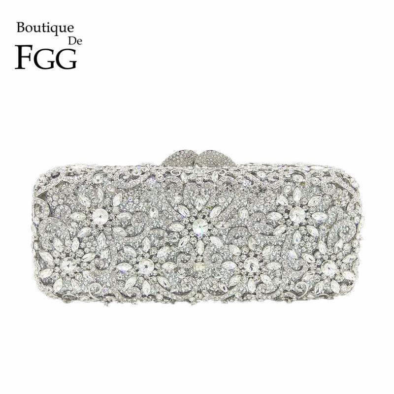 35a4a73e3d Boutique De FGG Women Silver Crystal Clutches Bag Evening Party Minaudiere  Box Clutch Purse Bridal Flower Rhinestones Handbag Y18103003
