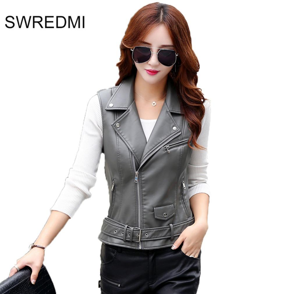 13fb96320aef6 2019 Women Vest 2017 New Arrival Sleeveless Leather Jacket Motorcycle Vest  Tops Outerwear Clothing XS XL Black