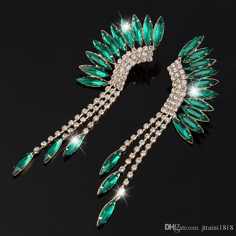 Yeni Moda Peacock Püskül Rhinestone Küpe 3 Renk Uzun Bırak Küpe Takı Düğün Parti Aksesuarları Kadın E045