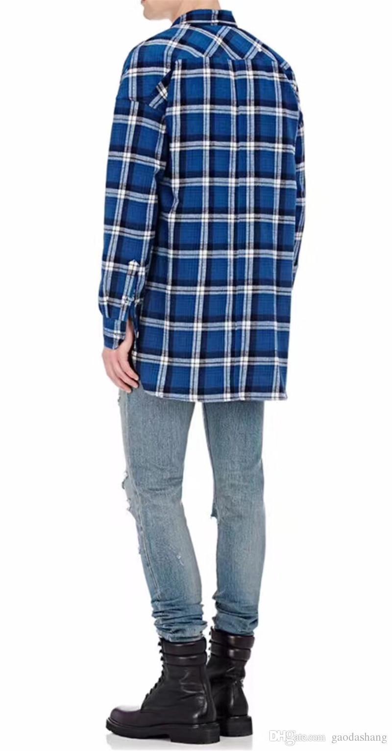 2018 Новый Страх Бога Рубашки Мужчины Женщины Высокое Качество Джастин Бибер Полосатый Фланелевые Рубашки Синий Коричневый Платье Рубашка Мода Рубашки