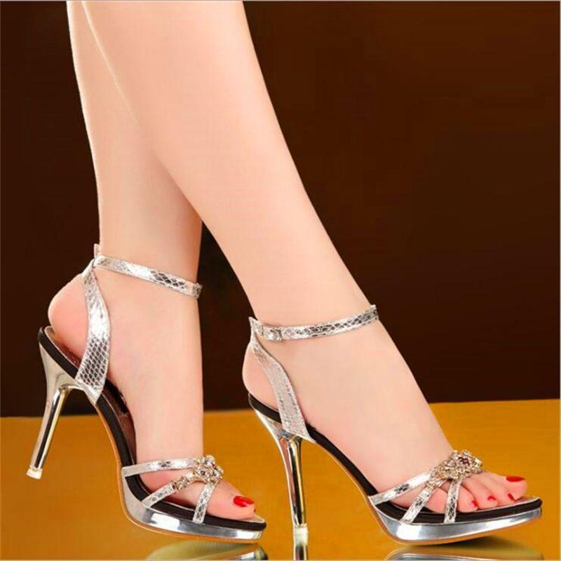 33c61f761fc5f European Size 34 40 Women Sandals Sexy High Heels Women Pumps 2018 Women  Shoes Gold Silver Summer Sandals Heels Ladies Shoes Sandals For Men Jelly  Sandals ...